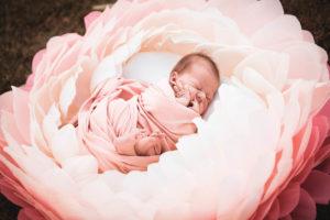Babybilder Halle mit Riesenblume Babyfotograf